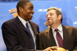 12-22-03  The Knicks owner James Dolan(center) named Isiah Thomas(left) the new General Manager of the Knicks and Steve Mills(right) the President of Sports Operations for MSG.